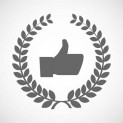Isolated laurel wreath icon with a thumb up hand